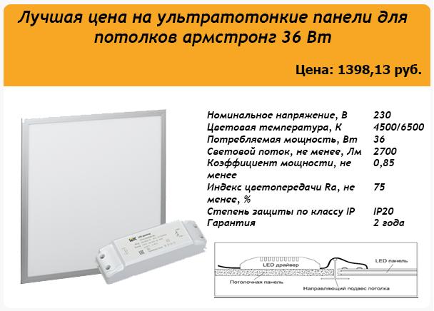 LDVO0-6566-36-6500-K00 Светодиодная панель ДВО 6566, 36Вт IEK