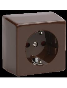 РС20-3-БК Розетка одноместная с з/к для открытой установки