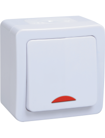 ВС20-1-1-ГПБ выкл 1кл с инд о/у IP54 (цвет клавиш: белый) ГЕРМЕС PLUS