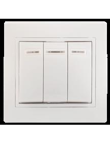 ВС10-3-1-КБ Выключатель 3кл с инд. 10А КВАРТА (белый)
