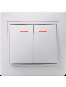 ВС10-2-1-КБ Выключатель 2кл с инд. 10А КВАРТА (белый)