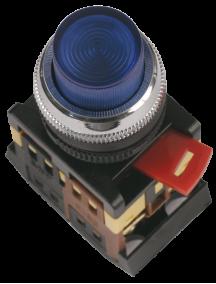 Кнопка ABLFP-22 белый d22мм неон/240В 1з+1р ИЭК