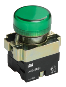 Индикатор LAY5-BU63 зеленого цвета d22мм ИЭК